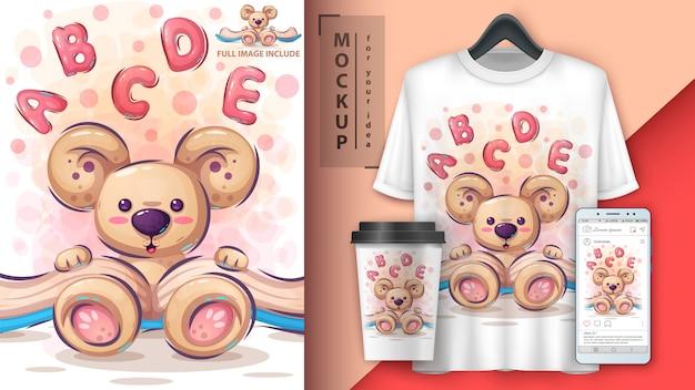 Urso ler merchandising e ilustração de livro
