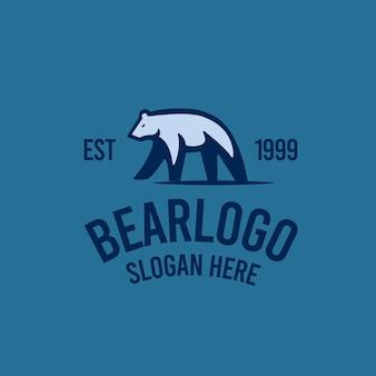 Urso logotipo retro vintage