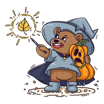 Urso mágico com chapéu de bruxa, capa de chuva e botas, abraços de abóbora chocada de halloween. o mago lança feitiço com varinha mágica. garoto engraçado é isolado no fundo branco, para cartaz, cartão.