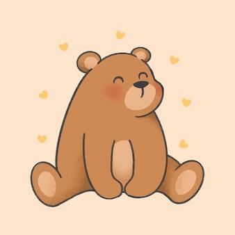 Urso mão dos desenhos animados desenhado estilo