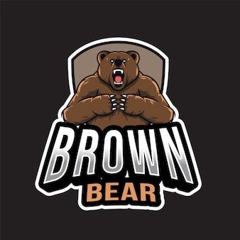 Urso marrom esport logotipo