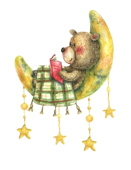 Urso marrom fofo deitado na lua coberto com um cobertor e lendo um livro