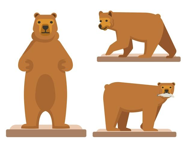 Urso marrom grande floresta conjunto de três