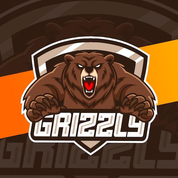 Urso mascote esport design de logotipo