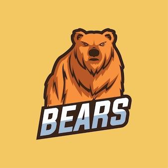 Urso mascote esport logotipo