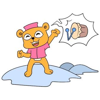 Urso muçulmano recebe alegremente eid, arte de ilustração vetorial. imagem de ícone do doodle kawaii.