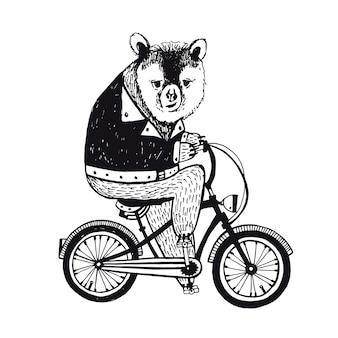 Urso na bicicleta. ilustração vintage