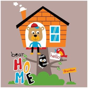 Urso na casa da árvore desenho animado animal engraçado