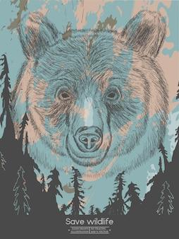Urso na floresta salvar vetor de cartaz vintage de vida selvagem
