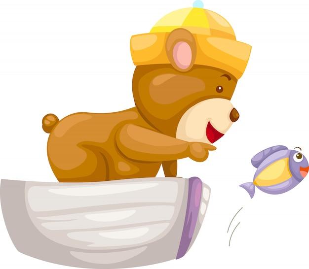Urso na ilustração do barco