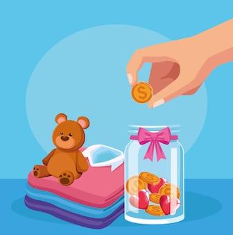Urso na pilha de camisas de homens e garrafa com moedas de dinheiro sobre azul