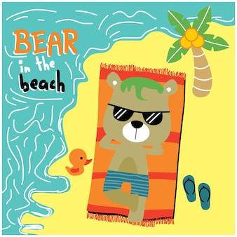Urso na praia desenho animado de animal