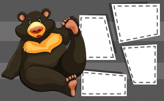 Urso no modelo de nota