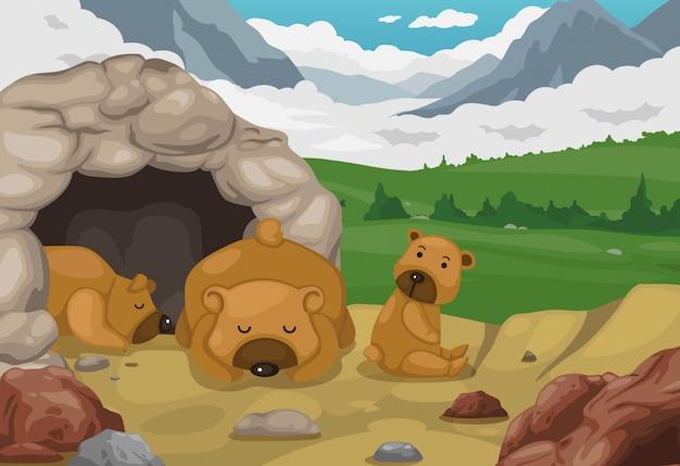 Urso no vetor de fundo de paisagem de montanhas