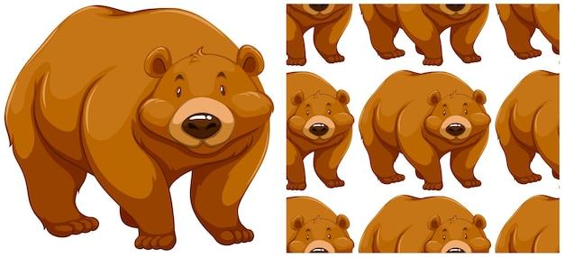 Urso padrão sem emenda isolado no branco