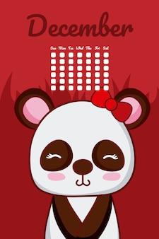 Urso panda bonito calendário com dias e mês