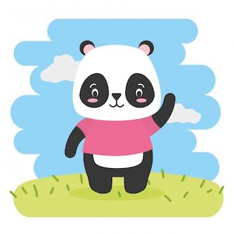 Urso panda bonito dos desenhos animados animais e estilo simples, ilustração