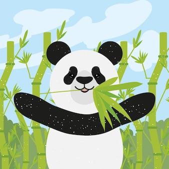 Urso panda com bambu