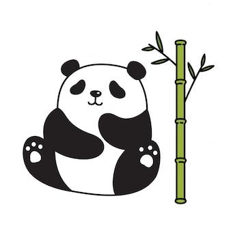 Urso panda dos desenhos animados bambu