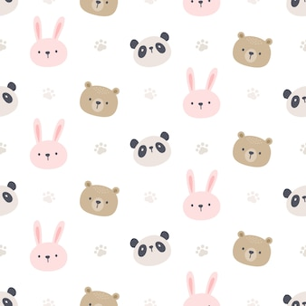 Urso panda e coelho sem costura de fundo