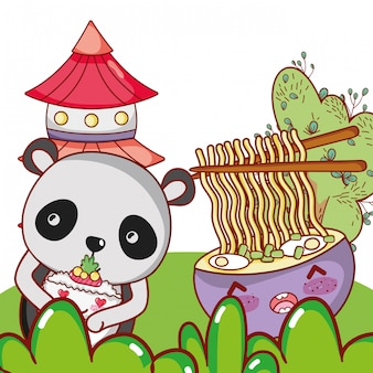 Urso panda e comida kawaii