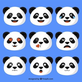 Urso panda emoticons no design plano
