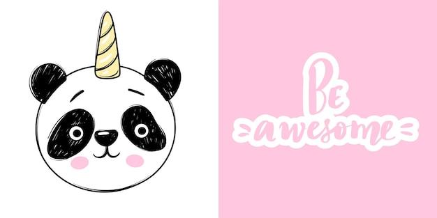 Urso panda fofo com unicórnio e letras