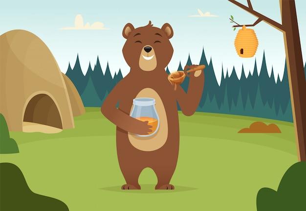 Urso pardo com desenho de mel