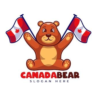 Urso-pardo com modelo de logotipo dos desenhos animados do mascote da bandeira do canadá