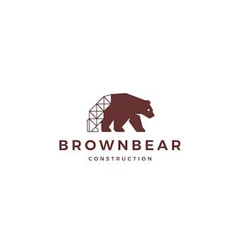 Urso-pardo construção logo vector icon ilustração
