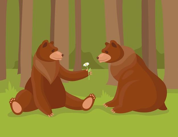 Urso pardo de desenho animado dando flores para seu amor. ilustração de ursos, animais predadores da floresta da natureza selvagem e urso sentado apaixonado.