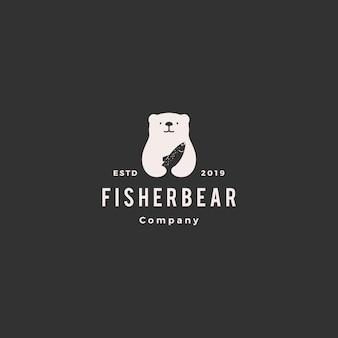 Urso peixe salmão logo