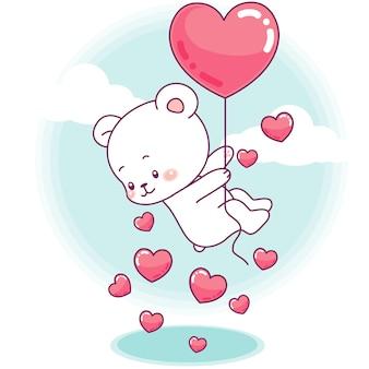 Urso pequeno bonito voa com um balão de coração