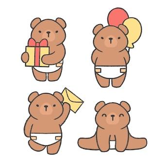 Urso pequeno mão desenhada cartoon coleção