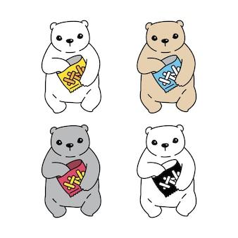 Urso personagem de desenho animado comendo salgadinhos