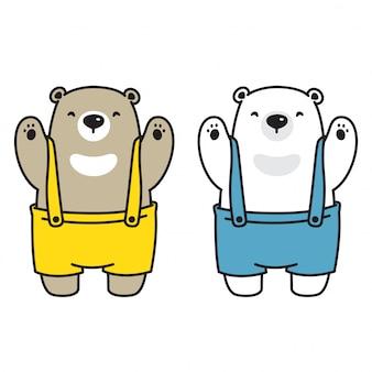 Urso personagem de desenho animado de urso polar de vetor