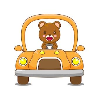 Urso personagem dirigindo carro.