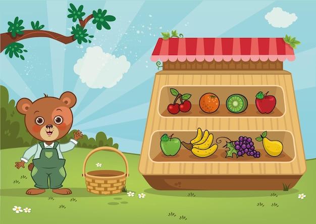 Urso personagem verdureiro mostrando seus produtos ilustração vetorial