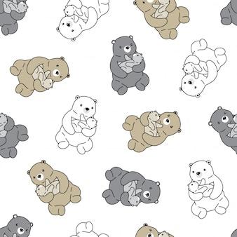 Urso polar abraço garoto sem costura padrão dos desenhos animados