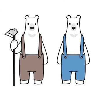 Urso polar bear agricultor dos desenhos animados
