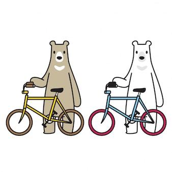 Urso polar bear equitação bicicleta ciclismo personagem de desenho animado