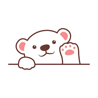 Urso polar bonito acenando pata dos desenhos animados