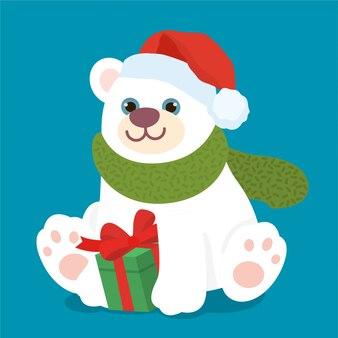 Urso polar bonito com caixa de presente