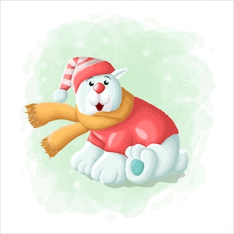 Urso polar bonito dos desenhos animados com ilustração de feliz natal de caixa de presente