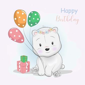 Urso polar bonito dos desenhos animados, recebendo presentes e balões
