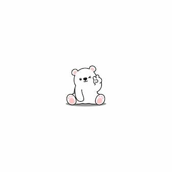 Urso polar bonito piscando ícone dos desenhos animados de olho