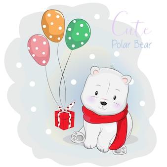 Urso polar bonito, recebendo um presente com balão