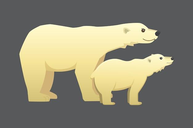 Urso polar branco cartoon animal ártico