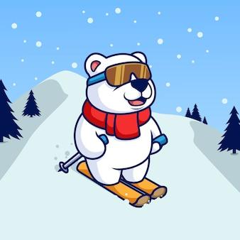 Urso polar brincando de embarque de esqui