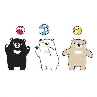 Urso polar cartoon balão ilustração